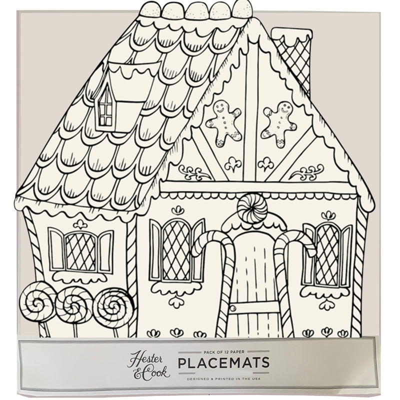 Color-in  Gingerbread house Die-Cut Placemat Sheets Placemat
