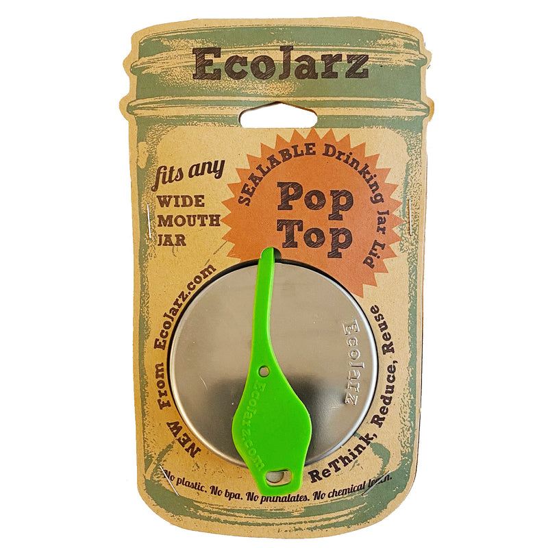 Green Sealable Drinking Jar Lid- EcoJarz