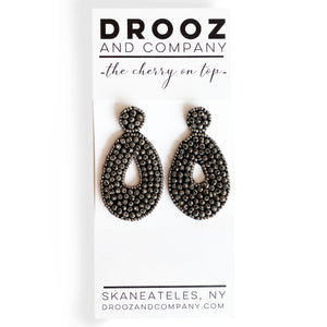 Carbon Beaded Drop Earring- the cherry on top
