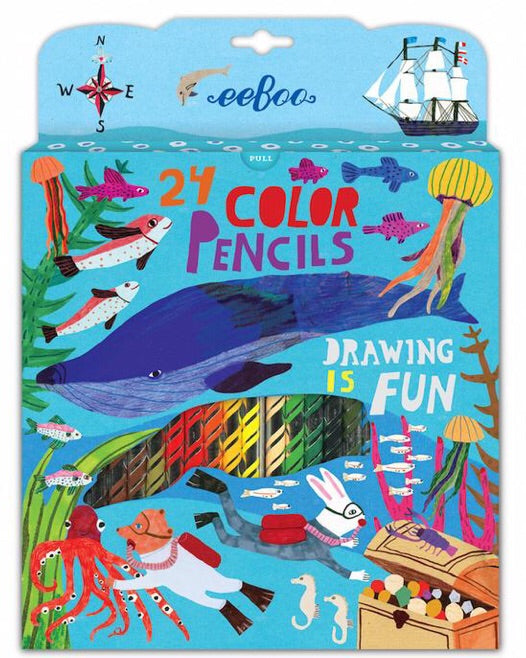 Sea life: 24 Colored Pencils