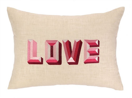 LOVE embroidered linen pillow