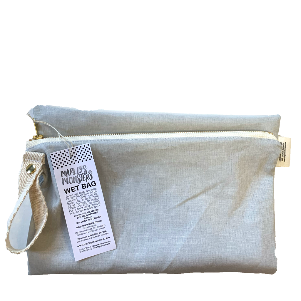 gray : linen wet bag