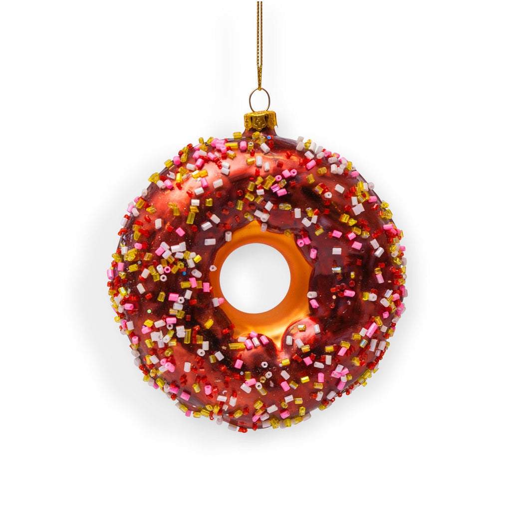 Chocolate sprinkled donut ornament