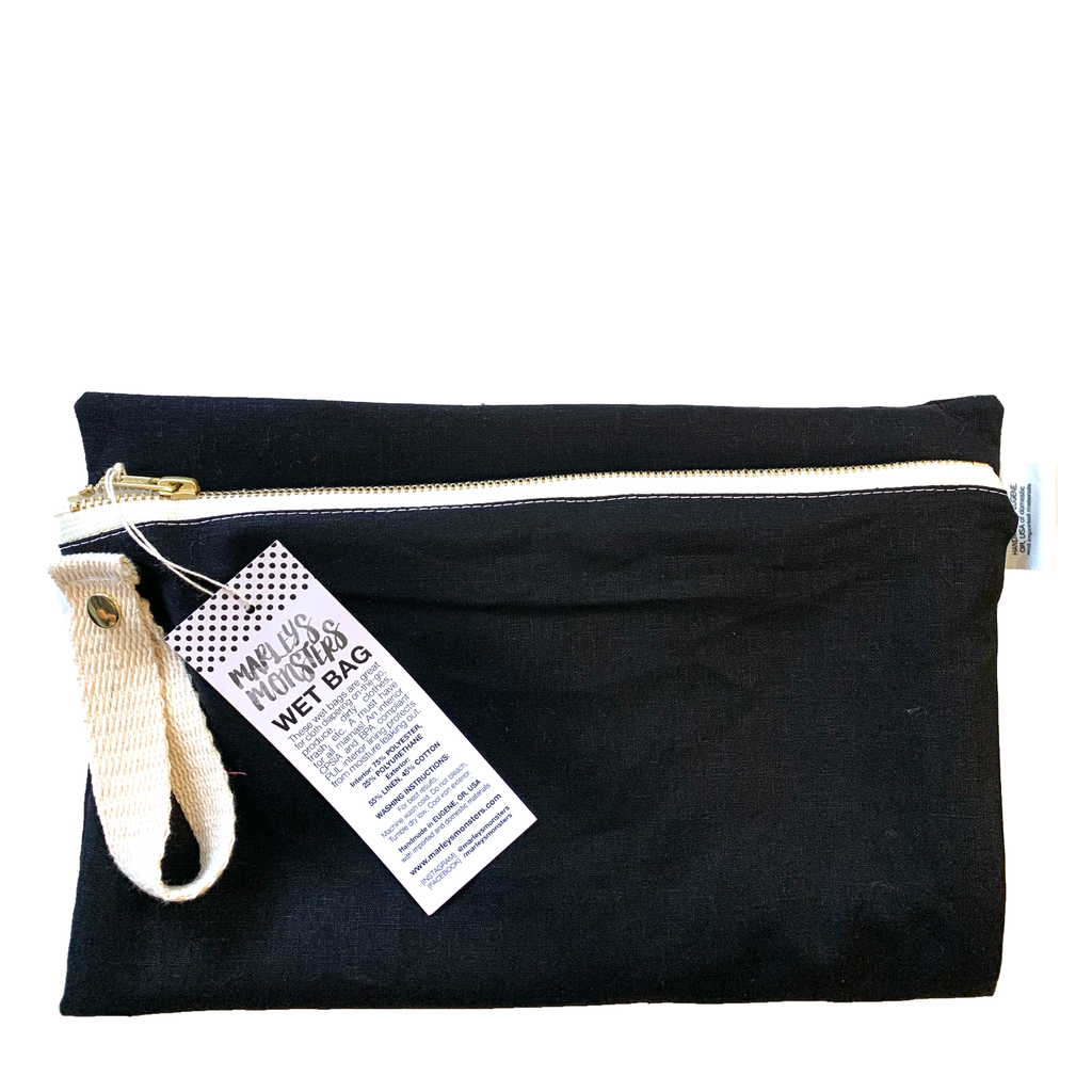 black: linen wet bag