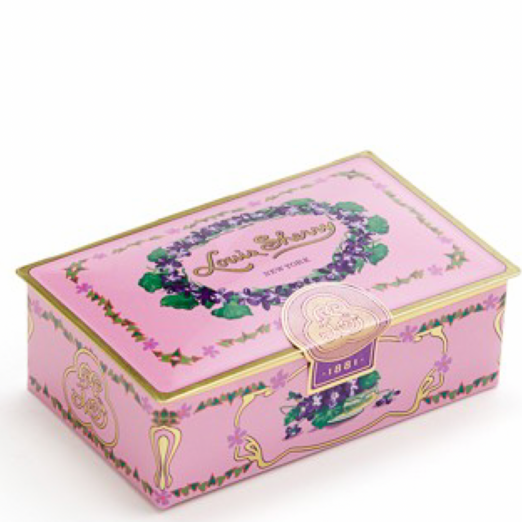 "2 piece orchid pink   ""jewel box"" Chocolate Truffle Tin"