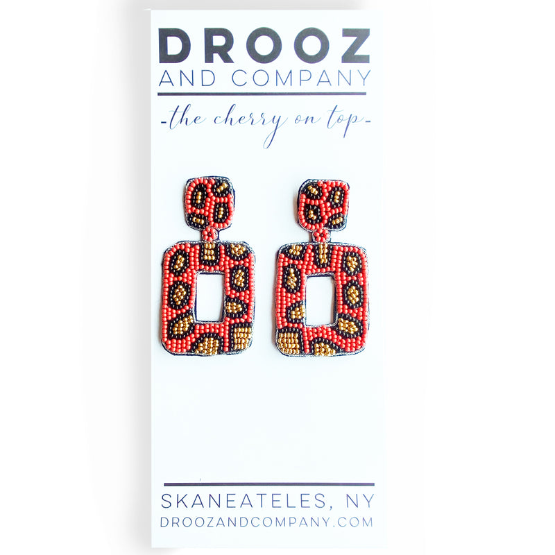 Orange/Red Leopard Square Earrings- the cherry on top