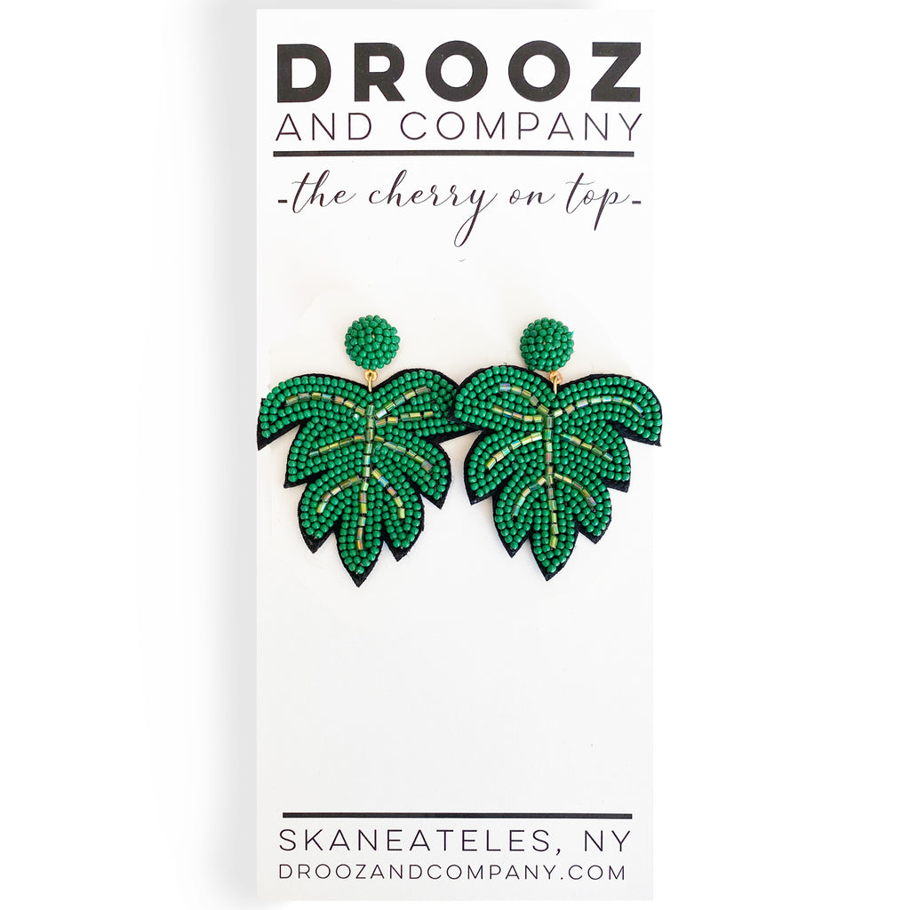 Tropical Leaf Earring- the cherry on top