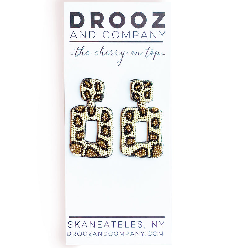 Ivory Leopard Square Earrings- the cherry on top