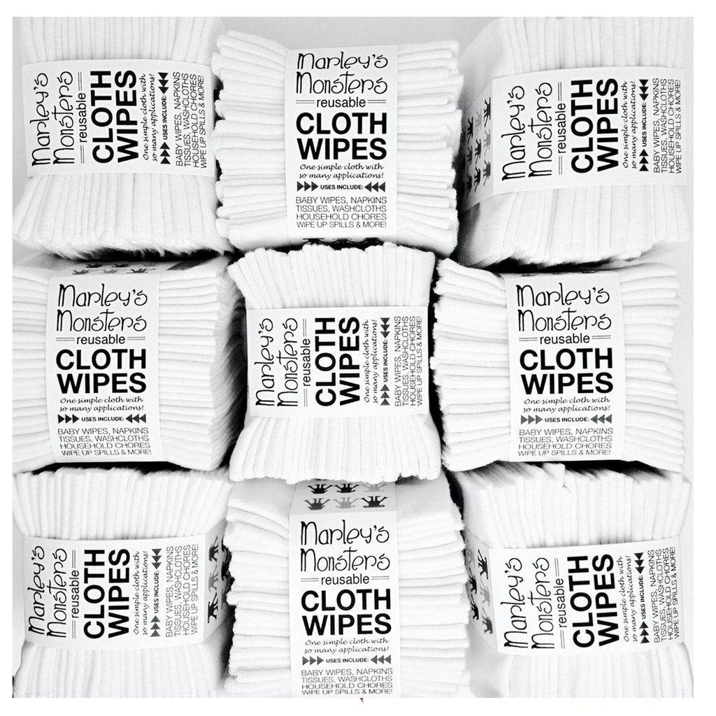 white: CLOTH WIPES: 12 pack