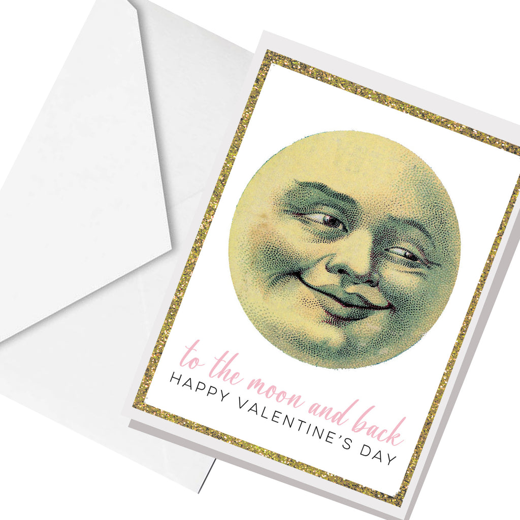 valentine moon and back... greeting card