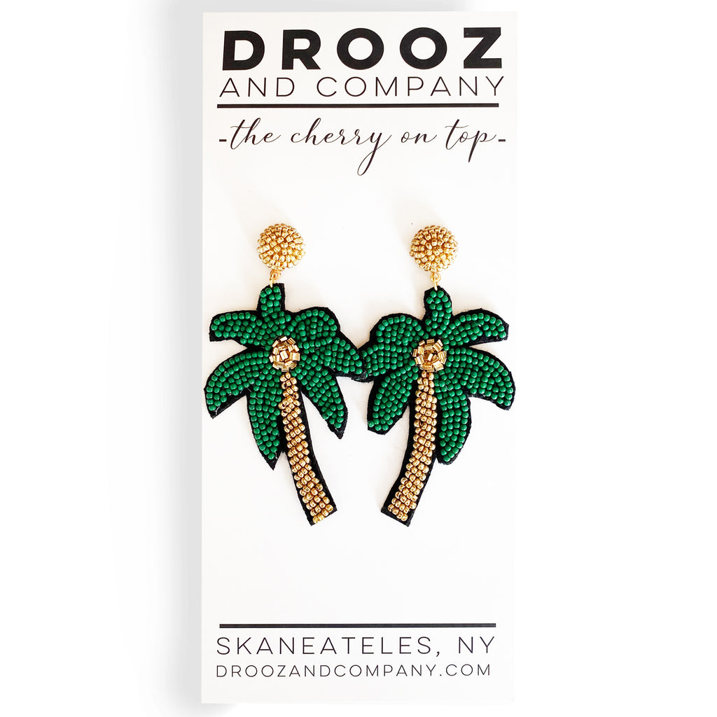 Palm Tree Earrings- the cherry on top