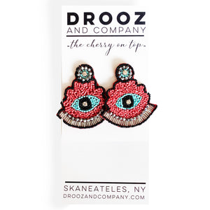 Pink and Blue Eye Earring- the cherry on top