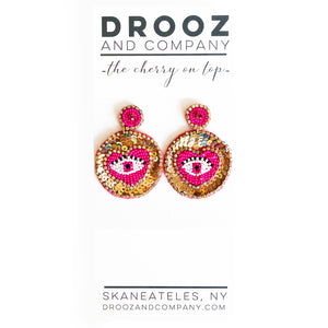Pink Eye Heart Earring- the cherry on top