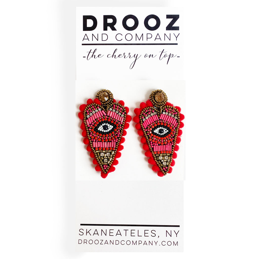 Pom Pom Beaded Heart Earring- the cherry on top