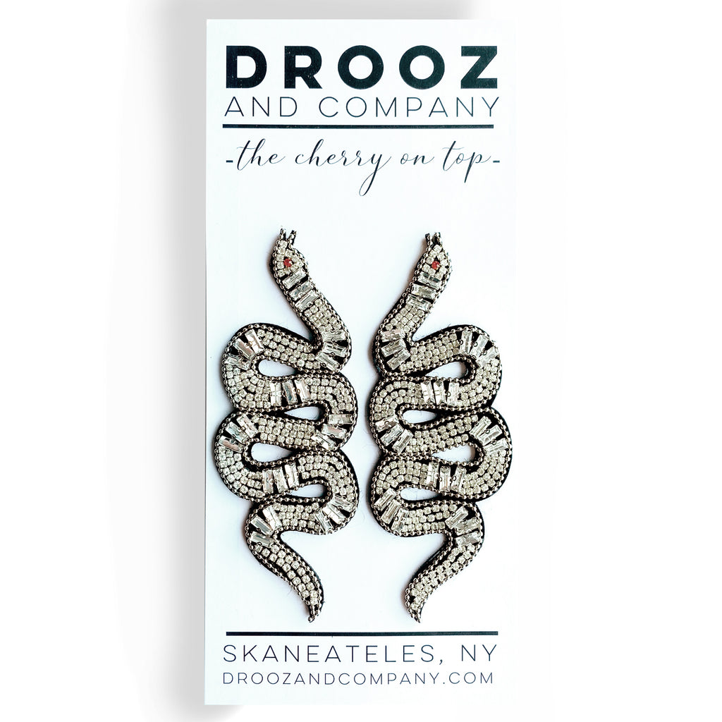 Rhinestone Snake Earrings (Crystal White) - the cherry on top