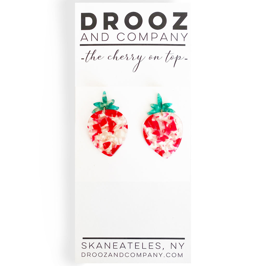 Lucite Strawberry Earring- the cherry on top