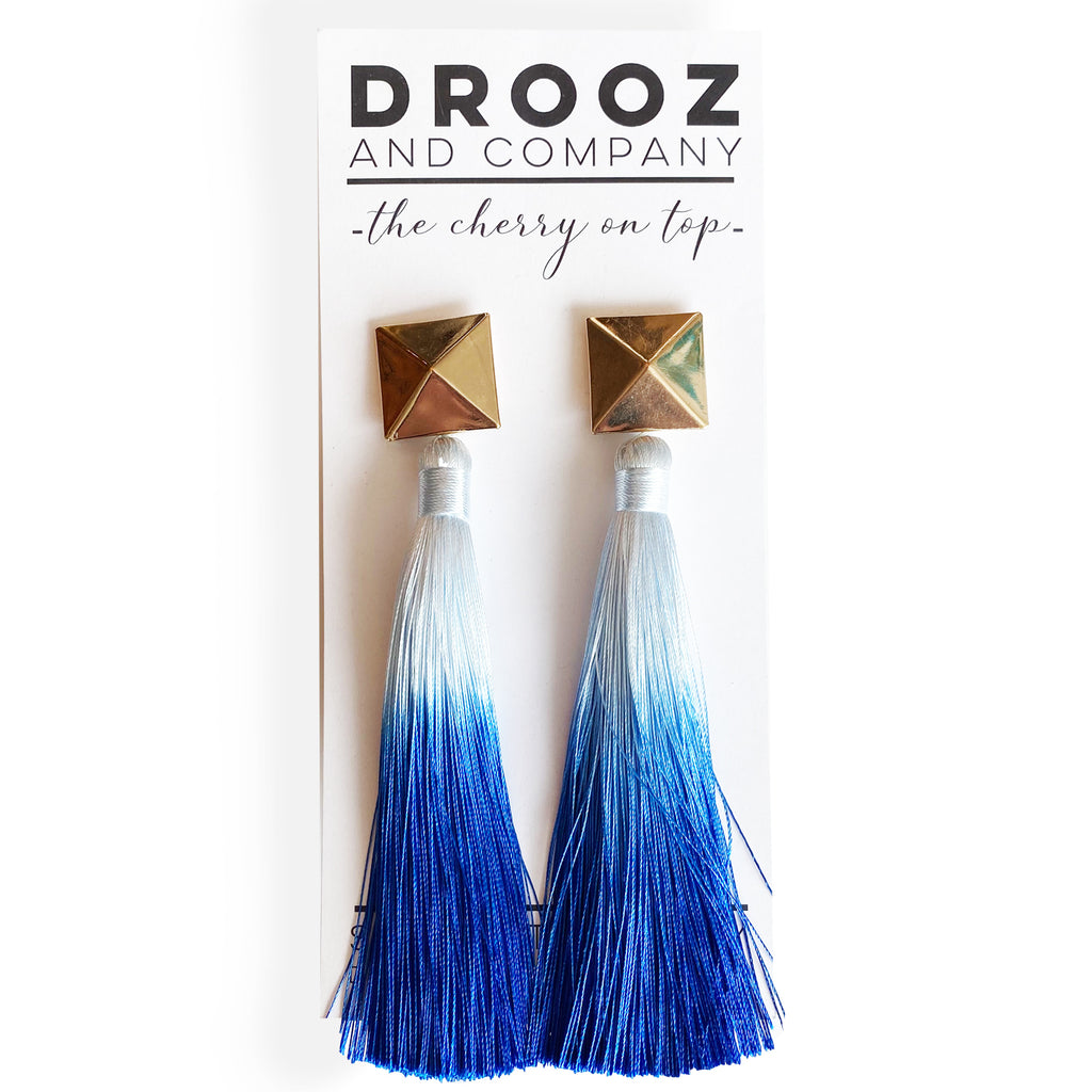 Blue Ombre Tassel Earring- the cherry on top