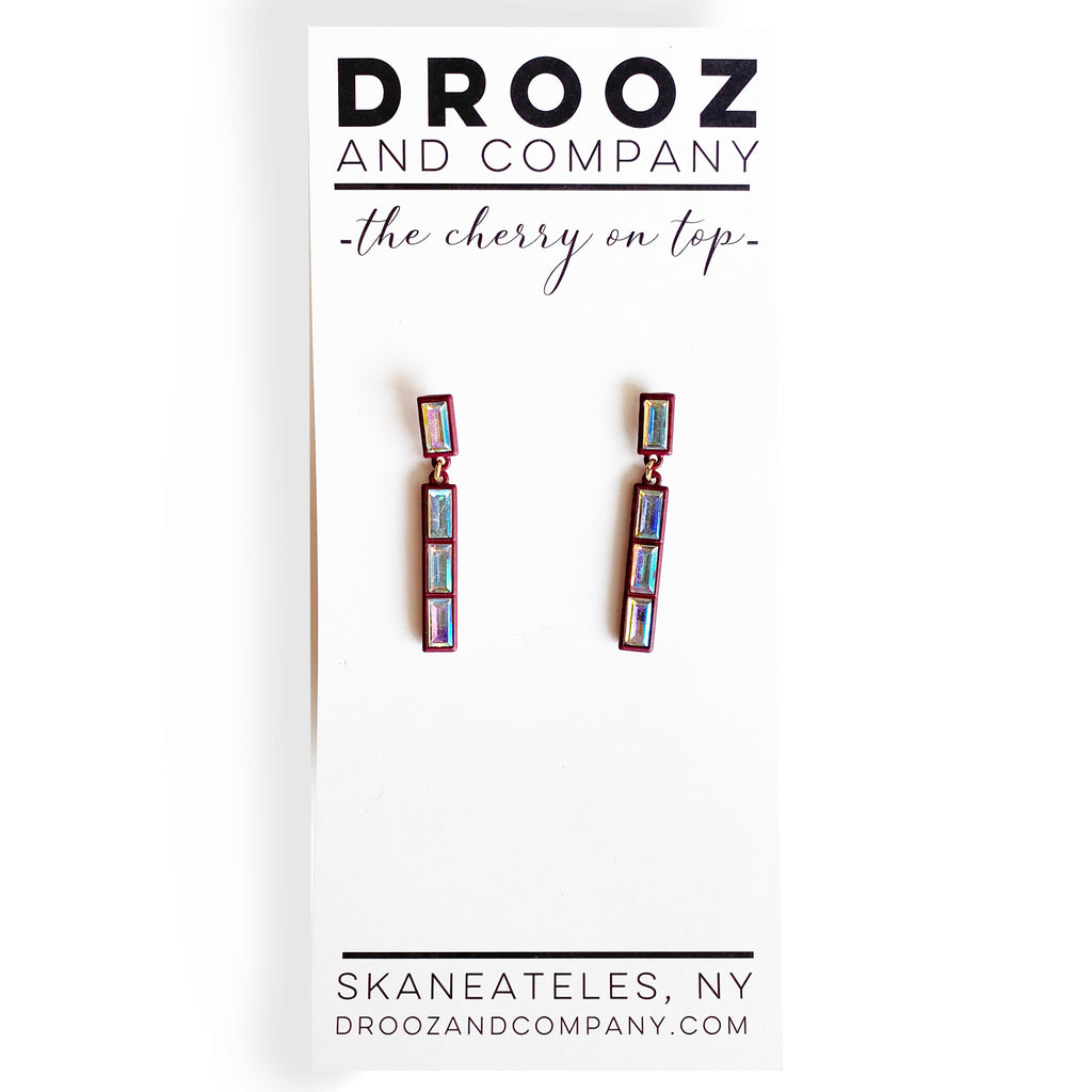 Rhinestone Drop Long Earring- the cherry on top