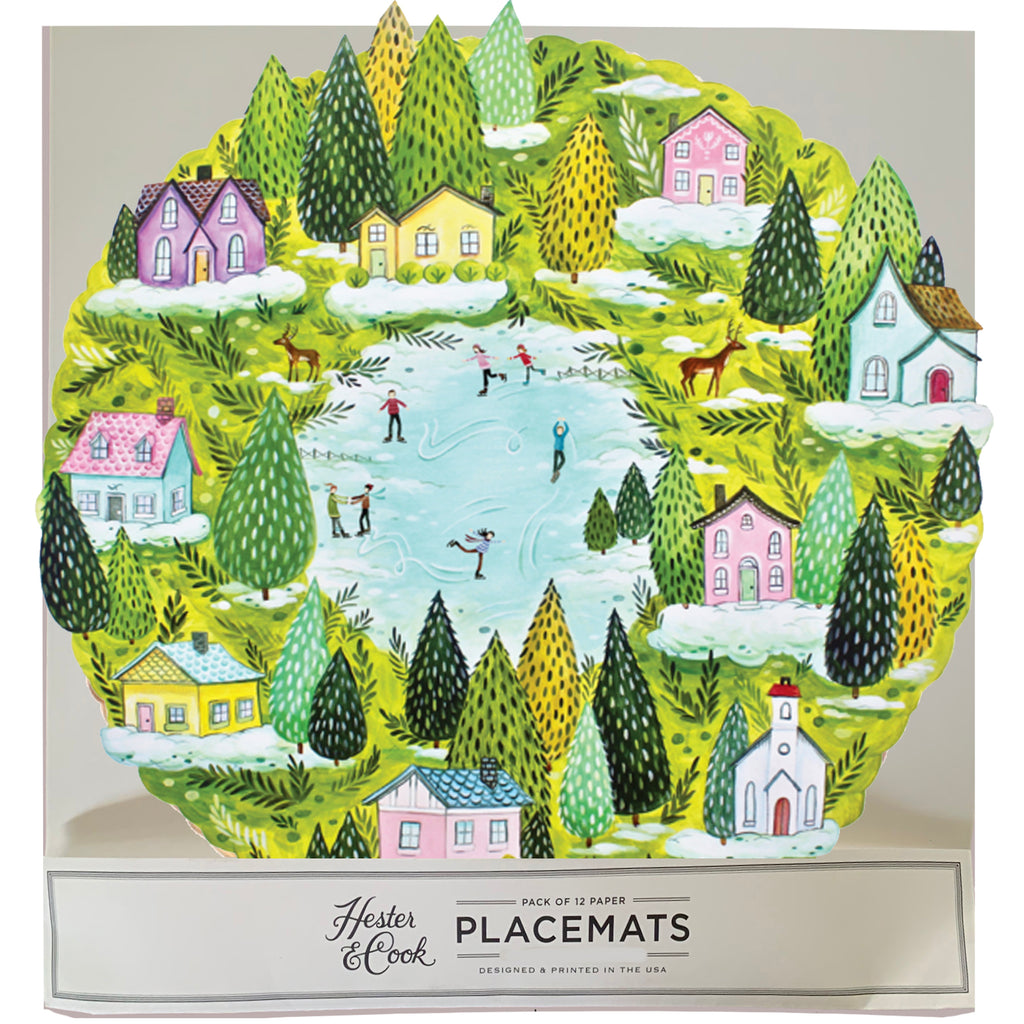 winter village die-cut Placemat Sheets Placemat