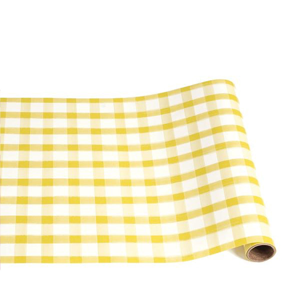 yellow plaid paper: paper table runner