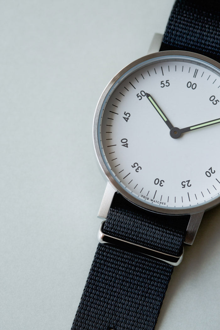 TThe V03B with a nylon NATO Strap by Swedish designer David Ericsson.