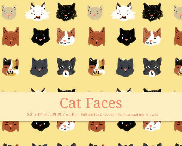 Cat Face Pattern Printable Paper & Pattern Tiles