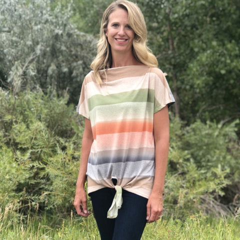 Tracy Striped Olive Top