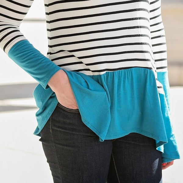 Striped Teal Top