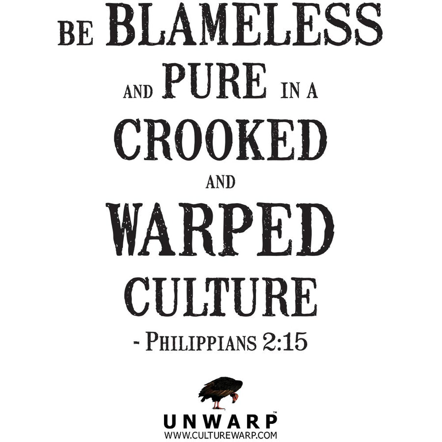 White Culture Warp Christian T-Shirt. The shirt style is Classic Unisex T-Shirt , size S. The design is Blameless and Pure - Inferno Collection.