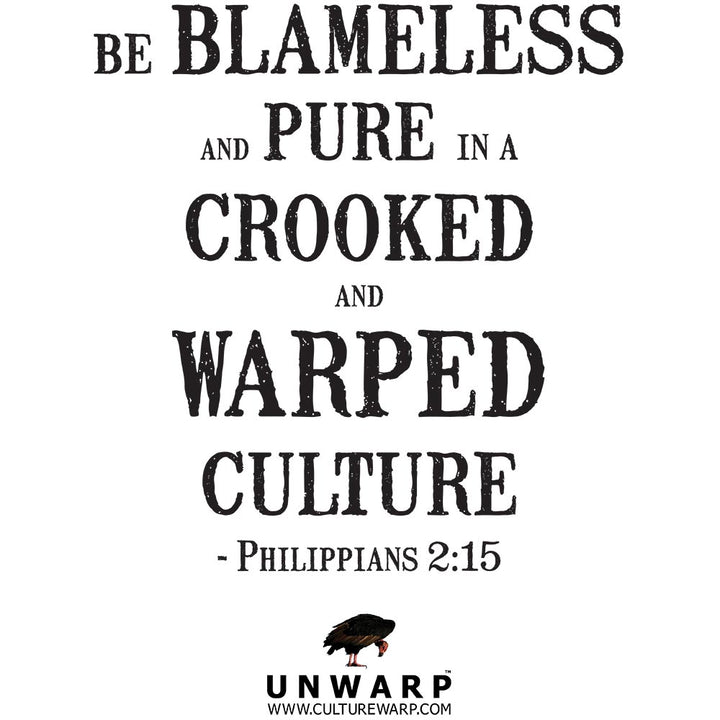 White/Black Culture Warp Christian T-Shirt. The shirt style is Classic Unisex T-Shirt , size S. The design is Blameless and Pure - UNWARP Collection Collection.