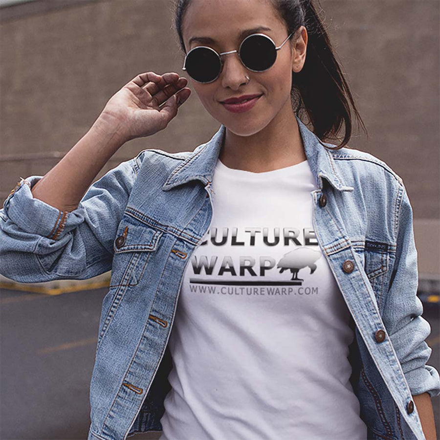 White Culture Warp Christian T-Shirt. The shirt style is Classic Unisex T-Shirt , size S. The design is Blameless and Pure - Chrome Collection.