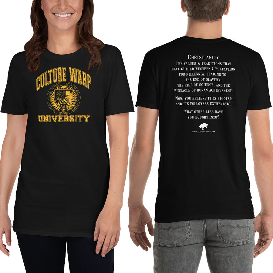 Black/Gold Culture Warp Christian T-Shirt. The shirt style is Classic Unisex T-Shirt , size S. The design is Traditions & Values - CWU Collection.