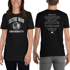 Black/White Culture Warp Christian T-Shirt. The shirt style is Classic Unisex T-Shirt , size S. The design is Traditions & Values - CWU Collection.