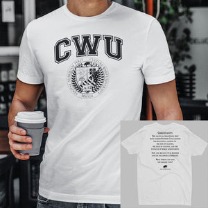 White/Black CWU Culture Warp Christian T-Shirt. The shirt style is Men's Fashion T-Shirt , size S. The design is Traditions & Values - CWU Collection.