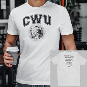 White/Black CWU Culture Warp Christian T-Shirt. The shirt style is Men's Fashion T-Shirt , size S. The design is Come to Me - CWU Collection.