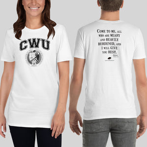 White/Black CWU Culture Warp Christian T-Shirt. The shirt style is Classic Unisex T-Shirt , size S. The design is Come to Me - CWU Collection.