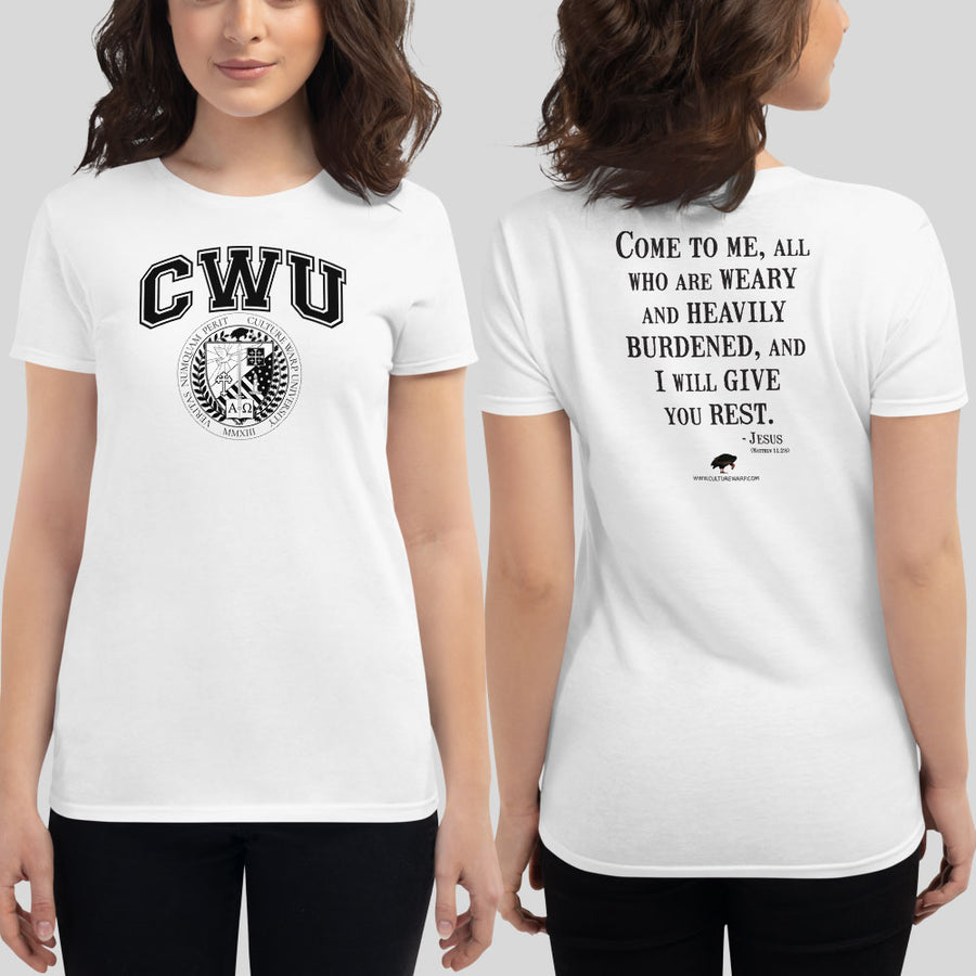 White/Black CWU Culture Warp Christian T-Shirt. The shirt style is Women's Fashion T-Shirt , size S. The design is Come to Me - CWU Collection.