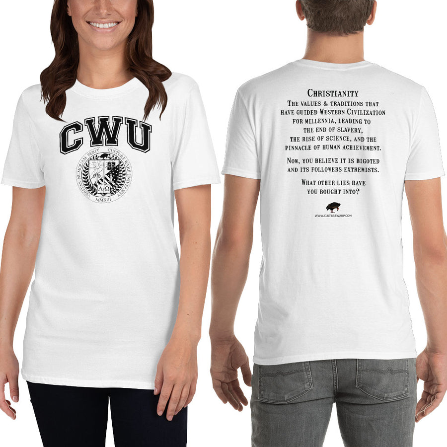 White/Black CWU Culture Warp Christian T-Shirt. The shirt style is Classic Unisex T-Shirt , size S. The design is Traditions & Values - CWU Collection.