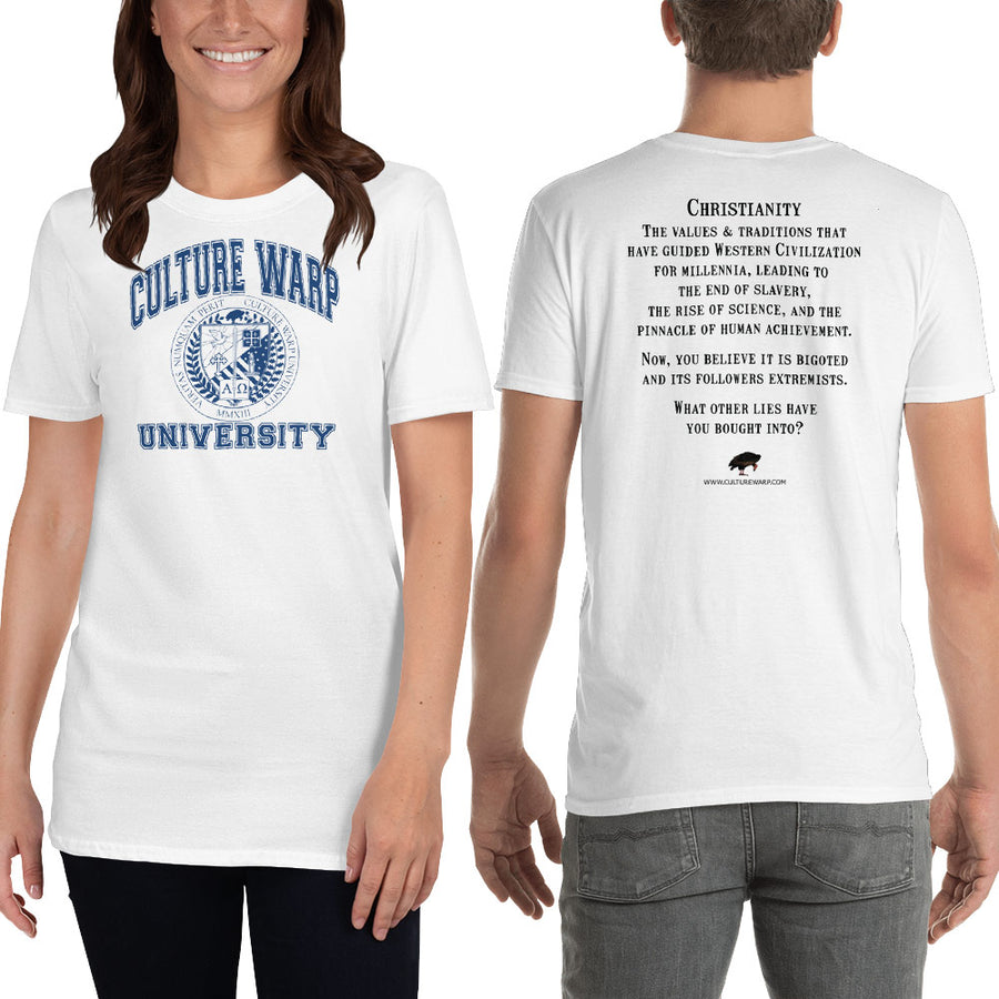 White/Navy Culture Warp Christian T-Shirt. The shirt style is Classic Unisex T-Shirt , size S. The design is Traditions & Values - CWU Collection.