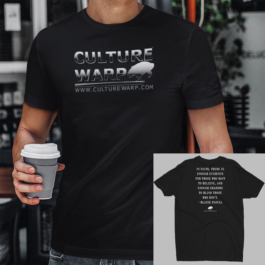 Black Culture Warp Christian T-Shirt. The shirt style is Men's Fashion T-Shirt , size S. The design is Enough Evidence for Those Who Want to Believe - Chrome Collection.