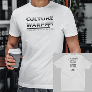 White Culture Warp Christian T-Shirt. The shirt style is Men's Fashion T-Shirt , size S. The design is Blameless and Pure - Chrome Collection.