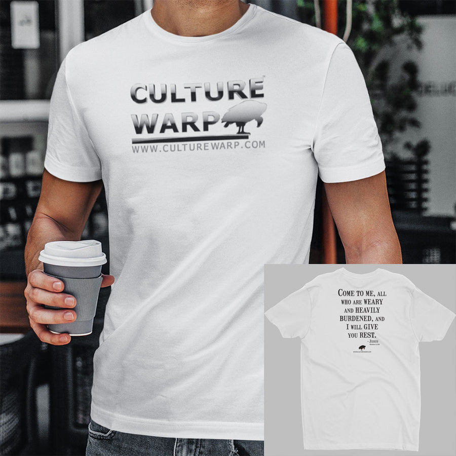 White Culture Warp Christian T-Shirt. The shirt style is Men's Fashion T-Shirt , size S. The design is Come to Me - Chrome Collection.