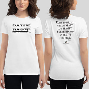 White Culture Warp Christian T-Shirt. The shirt style is Women's Fashion T-Shirt , size S. The design is Come to Me - Chrome Collection.