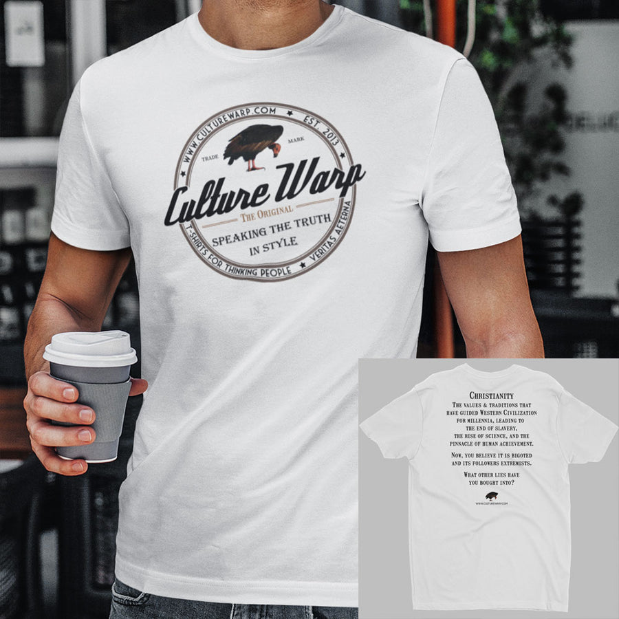 White (Original) Culture Warp Christian T-Shirt. The shirt style is Men's Fashion T-Shirt , size S. The design is Traditions & Values - Classic Collection.