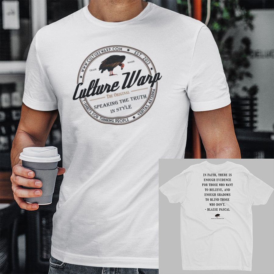White (Original) Culture Warp Christian T-Shirt. The shirt style is Men's Fashion T-Shirt , size S. The design is Enough Evidence for Those Who Want to Believe - Classic Collection.
