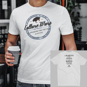 White (Vintage) Culture Warp Christian T-Shirt. The shirt style is Men's Fashion T-Shirt , size S. The design is Blameless and Pure - Classic Collection.