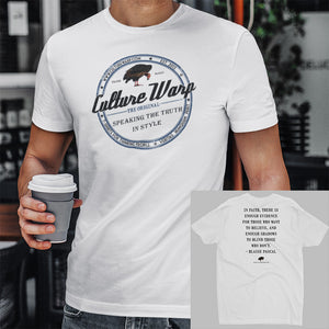 White (Vintage) Culture Warp Christian T-Shirt. The shirt style is Men's Fashion T-Shirt , size S. The design is Enough Evidence for Those Who Want to Believe - Classic Collection.