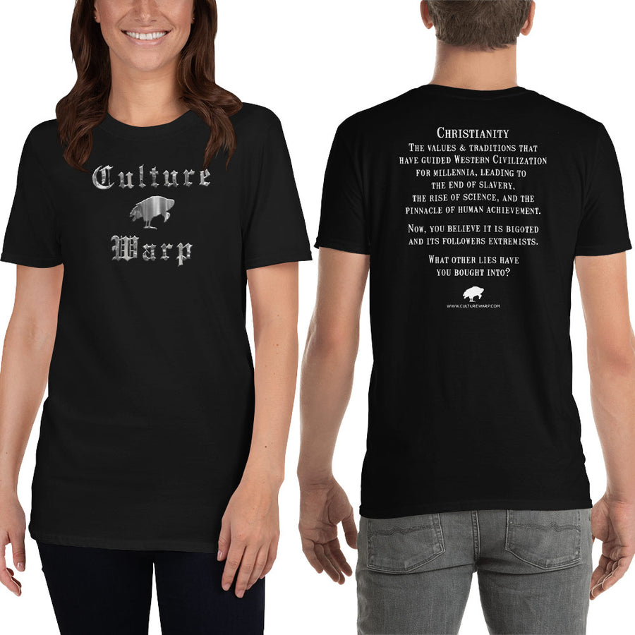 Black Culture Warp Christian T-Shirt. The shirt style is Classic Unisex T-Shirt , size S. The design is Traditions & Values - Cocytus Collection.