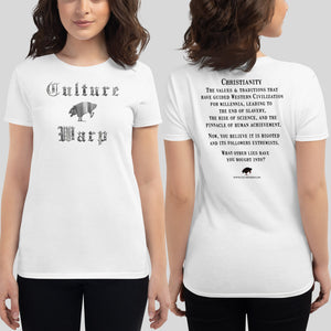 White Culture Warp Christian T-Shirt. The shirt style is Women's Fashion T-Shirt , size S. The design is Traditions & Values - Cocytus Collection.