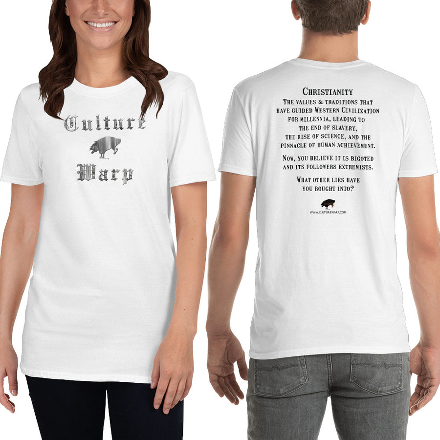 White Culture Warp Christian T-Shirt. The shirt style is Classic Unisex T-Shirt , size S. The design is Traditions & Values - Cocytus Collection.